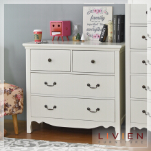 LIVIEN Furniture Lemari Pakaian - Lemari Laci - Wide Chest Arsit Series White