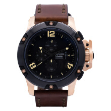 Alexandre Christie AC 6295 MC LBRBABO Man Sport Black Dial Brown Leather Strap [ACF-6295-MCLBRBABO]