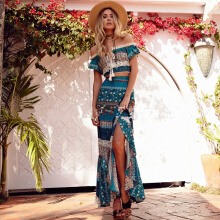 Allgood Fashion European&American Spring Bohemian Off-shoulder Long Dress Lotus Leaf Sleeve Placket Two-piece Set Dresses