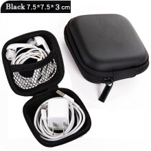 IVOLKS Earphone Storage Bag Headphone Accessories Material Waterproof For Earphone Data Cable Charger Portable Case Black