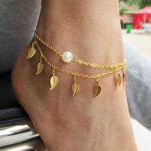 Farfi Leaf Tassels Two Layer Faux Pearl Beach Sandal Ankle Chain Foot Bracelet Anklet as the pictures