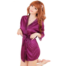 Newlan  Ladies silk pajamas suit sexy home service spring and autumn leisure suit