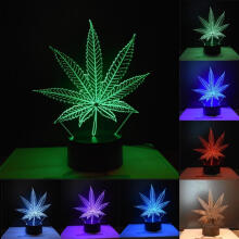 Farfi 3D Maple Leaves Night Light Touch LED Visual Decoration Atmosphere Lamp