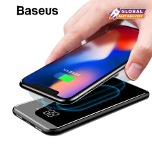 Baseus QI Wireless Charger Power Bank, 8000mAh Dual USB LCD Power Bank For iPhone X 8 Samsung S9 S8 - Black