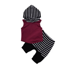 [COZIME] 2Pcs/set Baby Clothes Set Striped Sleeveless Hoodie T-Shirt Tops Short Pants Red & Black1  90cm