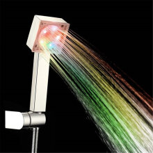 [OUTAD] Bright 5LED Glow Handheld Colorful Shower Head Bathroom 7 Colors Changing Silver