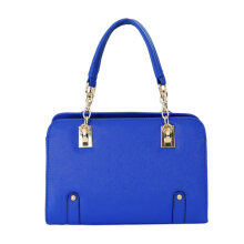 [LESHP]Fashion Cross Pattern Lady Handheld Bag Single Shoulder Blue