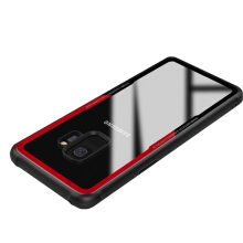 VEN For Samsung Galaxy A8 2018 Plus Case Luxury Simulation Glass Acrylic + TPU Transparent Protective Black-Red