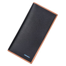 [LESHP]Men Long Style Wallet PU Leather Multi Cards Slots Money Clutch Bag Black