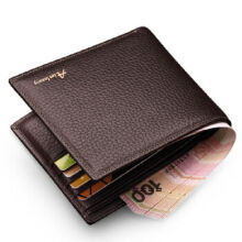 AIM Q201 Men's leather Cowhide two fold horizontal section leather card holder wallet multi-function wallet-Coffee