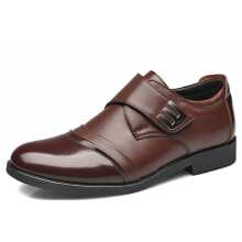 Zanzea Men Classic Color Blocking Hook-Loop Business Casual Leather Shoes Brown 41