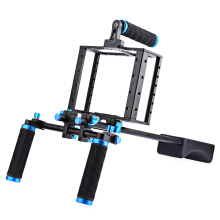 Aluminum Alloy Camera Video Cage Shoulder Rig Kit for Canon 5D   - Blue