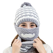 Farfi Women's Winter Warm Knitted Beanie Bobble Hat Outdoor Face Mouth Mask + Scarf