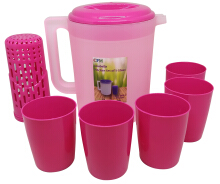Annabelle Jug Infused Set Plus 5 Glass Pink