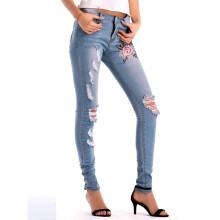 BestieLady WJ027 Floral Embroidery Ripped Jeans