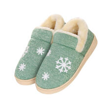 Farfi Winter Women Men Snowflake Print Warm Anti-Slip Indoor Shoes Home Slippers