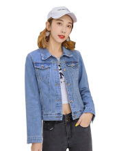 DAVID777 Fashion denim jacket female short section long-sleeved Korean version of the thin Harajuku shirt