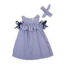 Choco Dress Anak sabrina korea size 130-Biru