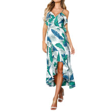 BESSKY Women Ladies Leaves Printing Sleeveless Mini Dress Summer Beach Dress_