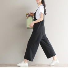 Women Loose Jumpsuit Strap Bib Pant Trousers Casual Overall Baggy Pants Trousers_L