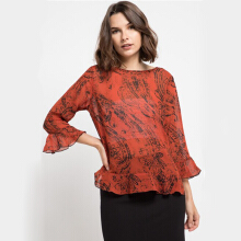 KORZ Printed Blouse With Frills Sleeve & Hem