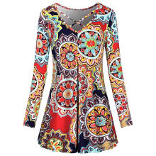 Maodapa Women Ladies Floral Printing Long Sleeve Mini Dress Swing Dress