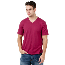 FACTORY OUTLET UG1802-0011 Mens T-Shirt V Neck Short Sleeve - Red