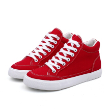 M.GENERAL Candy Color Canvas FLat Casual Shoes For Women Red 36