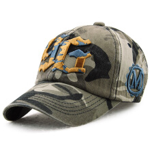 JAMONT Men Europe and America Fashion Cotton Camo Baseball Cap Outdoor Visor Letter Hat