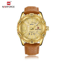 Men's Quartz watches Luxury Brand Men Genuine Leather Sport Watches Casual Round Dial Watch Emas