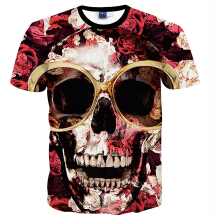 SESIBI S~2XL 3D Fashion Shirts Women Men Cool Short Sleeve Tees Lovers Tops Printing Blouse -The Smiling Sunglass Skull -