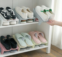 Japanese style double shoe rack - Stackable shoe rack organizer