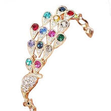 Farfi Women Vintage Multicolor Rhinestone Peacock Bird Chain Bangle Bracelet Jewelry as the pictures