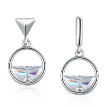 murtoo Women's Silver Needle Round Earring white