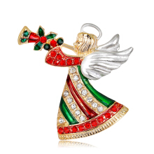 Jantens 2018 EY Christmas Brooch Pins Angel Horn Fashion Winter Creative Jewelry Women Gifts Red
