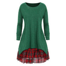 WEDO Plus Size Check Two Piece Dress Round Collar Long Sleeves Mini Skirt Green XL