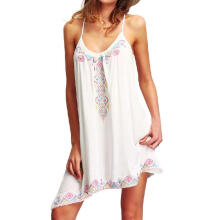 Boho Sexy Women Sleeveless Party Summer Beach Short Mini Dress_White_XXXXXL