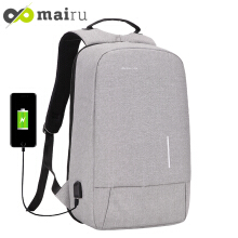 Mairu 3194W Tas Ransel Laptop Pria Wanita Sekolah Anti Maling Backpack Kanvas Travel Support USB Charger Port Unisex Korea