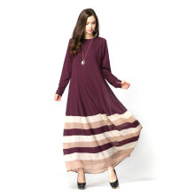 COZIME Casual Rainbow Stripe Pattern Long Sleeve Women Islamic Long Dress Muslim Robe Coffee Size L Coffee L