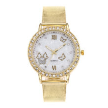 Women Fashion Crystal Butterfly Metal Mesh Band Quartz Analog Wrist Watch Multicolor