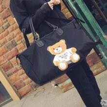 [COZIME] Women Stylish Leather Oxford Cloth Tote Bag Bear Printed Travel Shoulder Bag Black1  L