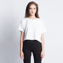 ANTHM-Cropped T-shirt with Back Details-White