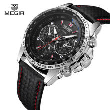 Casual Watch MEGIR Casual Men's Quartz 30M Waterproof Watch Top Luxury Mens Calendar Wristwatches