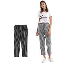 ESG Women Casual Elastic Waist Striped Pants Ladies Ankle-Length Pencil Pants Carrot Pants Office Harem Pants Trousers