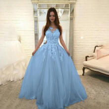 Mokoado Women Fashion Floral Lace Wedding Elegant Chiffon Evening Party Dress Ball Gown_Blue L