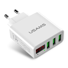 USAMS US-CC035 3A 3 USB Ports EU Plug Travel Wall Charger For iPhoneX 8/8Plus Samsung S9 S8 Xiaomi 6 White