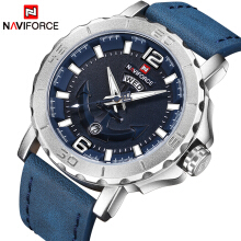 Naviforce 9122 New Top Luxury Brand  Leather Strap Sports Watches Men Quartz Clock Sports Military Wrist Watch Blue