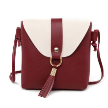 [LESHP]Women Shoulder Bag Messenger Tassels Storage with Adjustable Strap Red