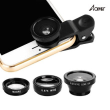 Aamir 3-in-1 Wide Angle Macro Fisheye Lens Camera Kits Mobile Phone Fish Eye Lenses with Clip 0.67x for all phone Black