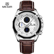 Casual Watch MEGIR Men Quartz Watches Genuine Leather Chronograph Watch Clock for Male